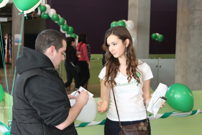 women's day event (talking to journalist)